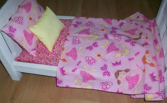 American Girl Doll Bedding, Doll Sheet and Pillow Set, Paper Doll Floral Print Doll 4 pc Bedding