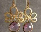 Fleur de Lis Lavender Glass Gold Bridesmaid Earrings, Wedding Earrings, Bridal Earrings, Gold Earrings (466-2232)