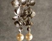 Silver Earrings - Pearl Earrings, Cascading Orchid Blossoms Silver Earrings (548-1149)