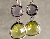 Tanzanite and Apple Green Silver Glass Earrings,  Silver Earrings, Silver Bridesmaid Earrings, Wedding Earring (4444)