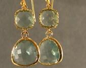 Prasiolite Gold Glass Earrings - Gold Earrings, Bridesmaid Earrings, Wedding Earrings (4635)