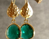 Teal Green Glass Hammered Gold Bridesmaids Earrings, Wedding Earrings, Gold Earrings, Bridal Earrings (4027w)