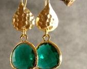 Teal Green Glass Hammered Gold Bridesmaids Earrings, Wedding Earrings, Gold Earrings, Bridal Earrings (4663)