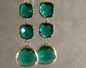 Triple Tier Teal Green Glass Silver Earrings, Wedding Earrings, Bridesmaid Earrings, Silver Bridesmaid Earrings (4503w)