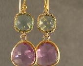 Prasiolite and Lavender Glass Gold Earrings, Bridesmaid Earrings, Gold Bridesmaid Earrings, Wedding Earrings (3538W)