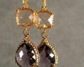 Peach and Amethyst Glass Gold Braid Earrings, Bridesmaid Earrings, Wedding Earrings, Gold Earrings, Gold Bridesmaid Earrings (4593W)
