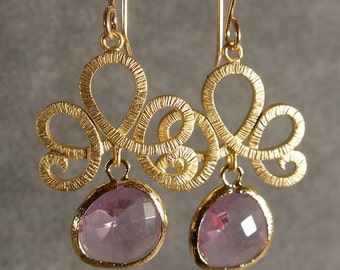 Fleur de Lis Lavender Glass Gold Bridesmaid Earrings, Wedding Earrings, Bridal Earrings, Gold Earrings (3417W)