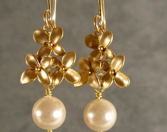 Pearl Cherry Blossom Dangle Gold Bridesmaid Earrings, Pearl Earrings, Gold Earrings, Bridesmaid Jewelry, Wedding Earrings (3488Wnr)