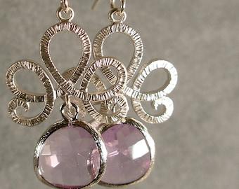 Lavender Glass Fleur de Lis Silver Bridesmaid Earrings, Wedding Earrings, Silver Earrings, Bridal Jewelry (3699w)