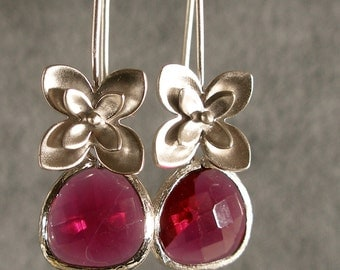 Fuchsia Glass Little Flowers Silver Bridesmaid Earrings, Wedding Earrings, Bridal Earrings, Silver Earrings (3665w)