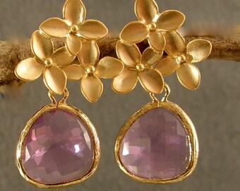Lavender Glass Cherry Blossoms Gold Bridesmaid Earrings, Wedding Earrings, Bridal Earrings, Gold Earrings, Bridesmaid Gifts (3279)