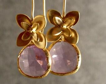 Lavender Glass Little Flowers Bridesmaid Earrings, Gold Earrings, Wedding Earrings (4682)