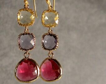 Jonquil Tanzanite Fuchsia Glass Gold Bridesmaid Earring, Wedding Earrings, Bridal Earring, Gold Earrings, Bridesmaid Gift (2470)