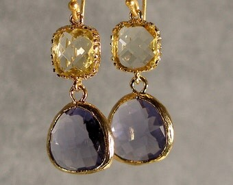 Jonquil and Tanzanite Glass Gold Bridesmaid Earrings, Wedding Earrings, Gold Earrings, Bridal Earrings (4594W)