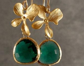 Gold Earrings - Teal Green Earrings, Green Earrings, Teal Green Glass Gold Blossom Earrings (538-2370)