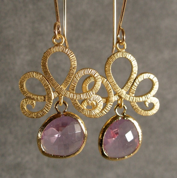 Fleur de Lis Lavender Glass Gold Bridesmaid Earrings, Wedding Earrings, Bridal Earrings, Gold Earrings (466-2232)