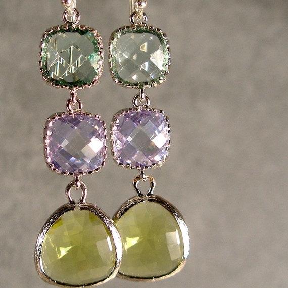 Prasiolite, Lavender and Apple Green Glass Silver Earrings, Bridesmaid Gifts, Silver Bridesmaid Earrings, Wedding Earrings (888-2991Wnr)