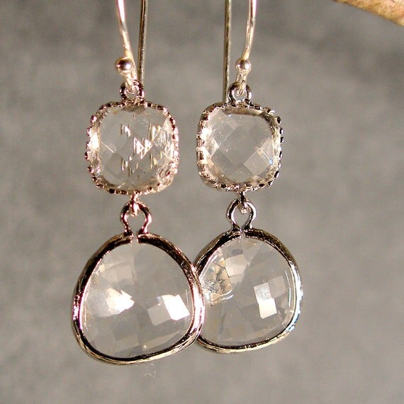 RESERVED for THERESA: 5 pair Two Tier Crystal Glass Silver Bridesmaids' Earrings (3296R)