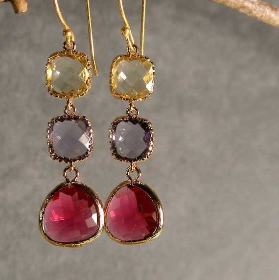 Jonquil Tanzanite Fuchsia Glass Gold Bridesmaid Earring, Wedding Earrings, Bridal Earring, Gold Earrings, Bridesmaid Gift (2470)