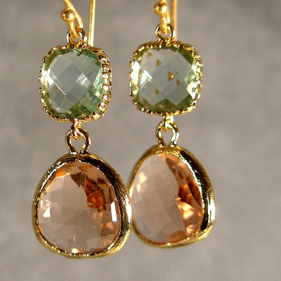 Prasiolite and Light Peach Glass Gold Bridesmaid Earrings, Wedding Earrings, Bridesmaid Jewelry, Bridesmaid Gift, Bridal Party (403G)