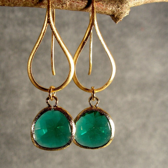 Bridesmaid Earrings, Gold Earrings, Teal Green Glass Contemporary Gold Earrings, Wedding Earrings, Bridesmaid Jewelry (3805W)
