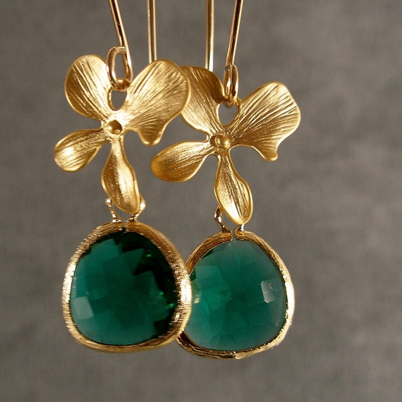 Gold Earrings - Teal Green Earrings, Green Earrings, Teal Green Glass Gold Blossom Earrings (538-2370)