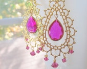 Bollywood Chandelier Earrings Bridal Morocco Hot Pink Lace Earrings by MinouBazaar