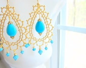 Bollywood Earrings Morocco Diwali Bridal Turquoise Gold Lace by MinouBazaar