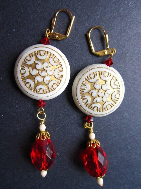 White Gold Earrings Red Vintage Lucite by MinouBazaar