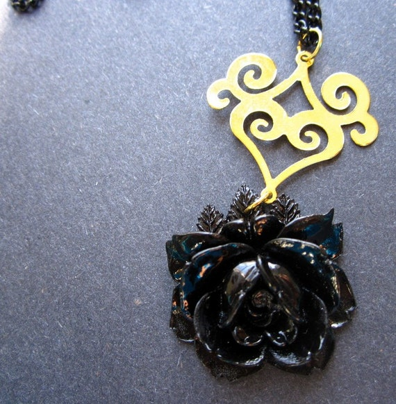 Halloween Gothic Necklace Vintage Rose Gold Scroll by MinouBazaar
