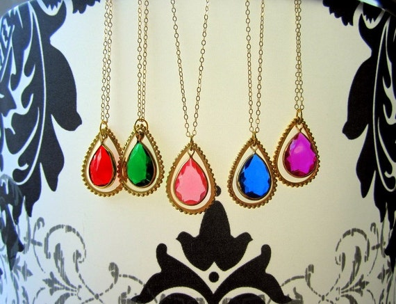 Colorful Necklace Vintage Jewel Gifts for Her by MinouBazaar