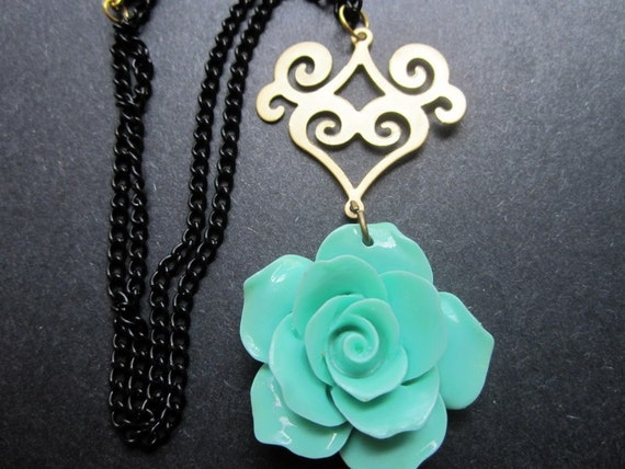 Rose Necklace Spring Jewelry Turquoise Black Chain Gold Scroll by MinouBazaar