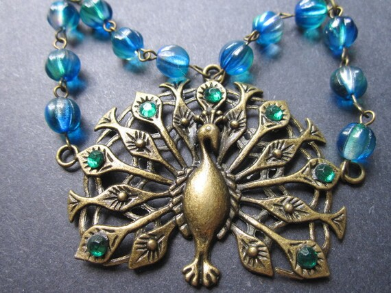 Peacock Steampunk Necklace Vintage Antiqued Brass Rhinestones by MinouBazaar