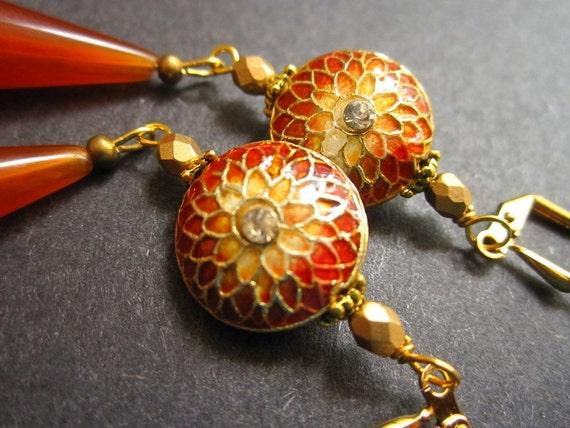 Orange Earrings Summer Cloisonne Vintage Lucite by MinouBazaar