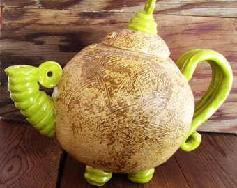 Green Teapot, unique hand built pottery