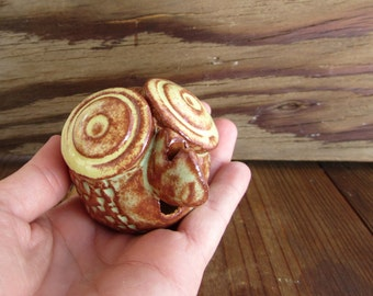 Stoneware Owl Whistle, miniature pottery art