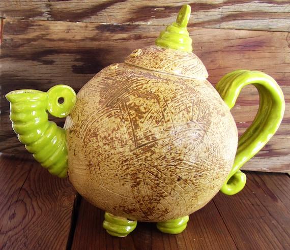 Green Teapot, unique hand built pottery