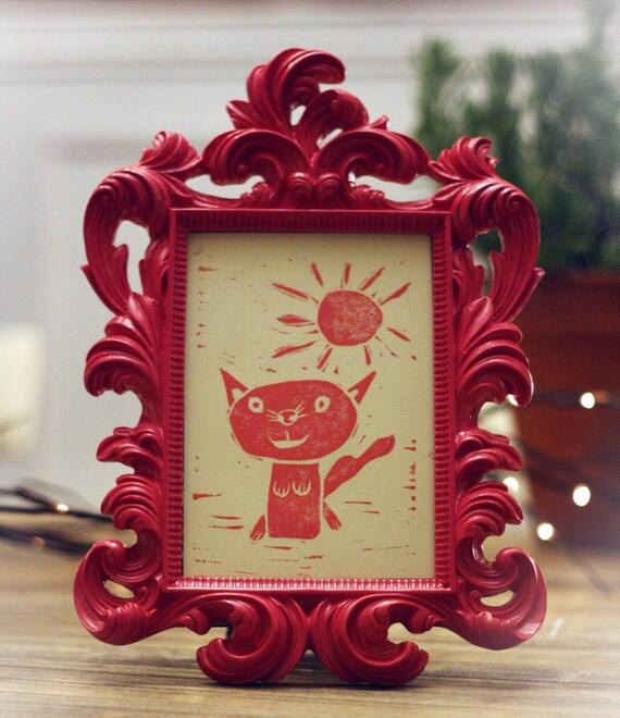 Neely's Pink Cat - Linocut