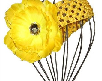 Boutique Limited Design Yellow Peony Flower and Crochet Headband with Rhinestone Center. Fits Baby to Adult. Great for Photo Props