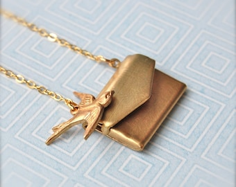 Love Locket Tiny I Love You Brass Letter Necklace Love Note Jewelry Anniversary Wedding Gift Miniature Envelope Lockets Brass Gold Bird