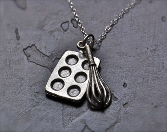Baking Necklace Cupcake Muffin Pan and Whisk Charms Sterling Silver Chain Kitchen Aid Mixer