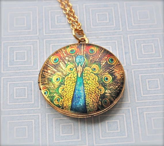 Peacock Feathers Locket Necklace Screen Print Art Photograph Blue/Green