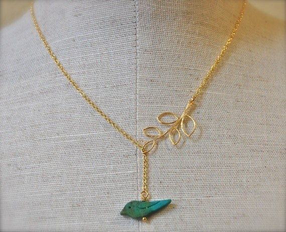 The Golden Leaf and Turquoise Birdie Lariat