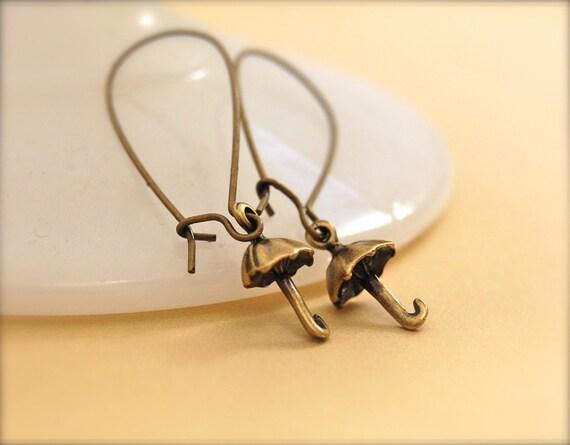 Umbrella Charms Earrings Brass