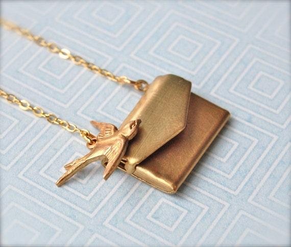Love Locket Tiny I Love You Brass Letter Necklace Love Note Jewelry Anniversary Wedding Gift Miniature Envelope Lockets Brass Gold Bird