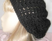 Handmade Crochet Tam Beanie Hat - Black