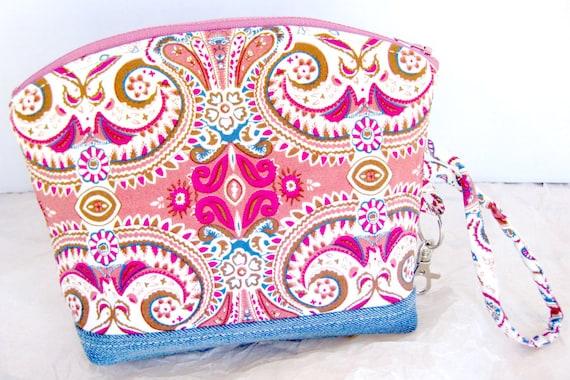 Paisley Fleur-De-Lis Pattern Zippered Clutch Wristlet Pouch Cosmetic Bag Denim Upcycled Pink Mauve Rose Burgundy Blue Cerulean Brown No.2