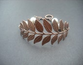 Bridesmaid Gift, Antique Copper Ox Brass Bracelet with Long Leafy Frond