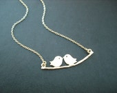 couple necklace, family necklace, matte yellow gold necklace, lovely mod birds neckalce