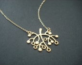 Sale - Simplicity Cute Tree  necklace - matte 16K yellow gold plated chain